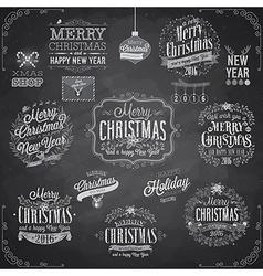 Set of Christmas emblems - Chalkboard vector image