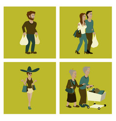 Set of people shopping vector