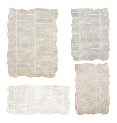 Set torn newspaper pieces isolated on white vector