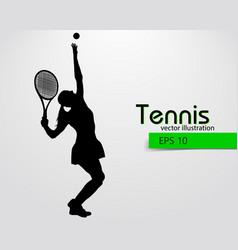 Silhouette a tennis player vector
