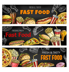 sketch banners fast food burgers and sandwiches vector image