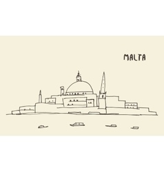 Sketch Malta view drawn vector image