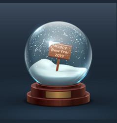 snow globe christmas holiday glass snowglobe vector image