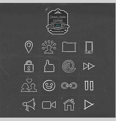 Social media handmade icon doodle set vector