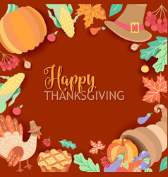 Square banner frame with thanksgiving symbols vector