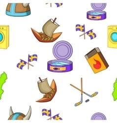 Sweden pattern cartoon style vector