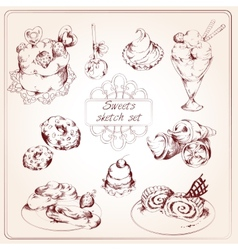 Sweets sketch set vector image