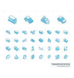 Transport and transportation isometric line icons vector