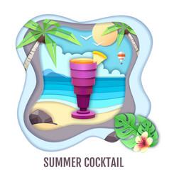 tropic cocktail on sea beach landscape paper cut vector image