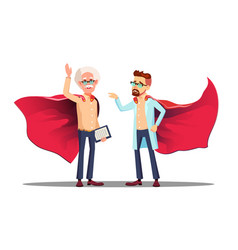 Two doctors in read cloak of super hero vector