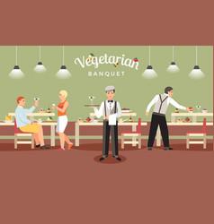 Vegetarian banquet concept vector