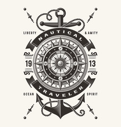 vintage nautical traveler typography one color vector image