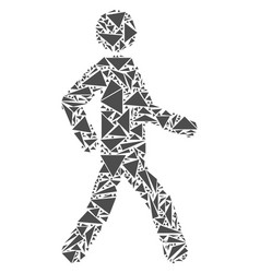 Walking man collage of triangles vector