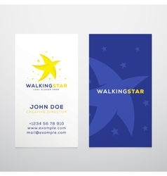 Walking Star Abstract Business Card vector
