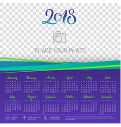 Wall calendar 2018 year copy space atop vector