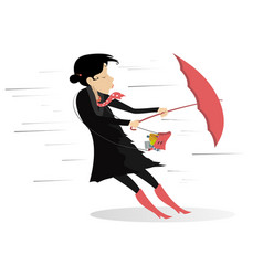 Windy day and woman with umbrella isolated vector