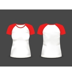 Womens raglan t-shirt in front and back views vector