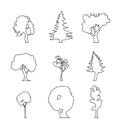 wood outline set vector image