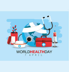 World health day with medicine treatment vector