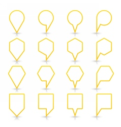 Yellow map pin sign flat location icon web button vector