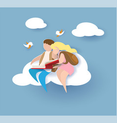 1 september card with boy and girl reading book vector image vector image