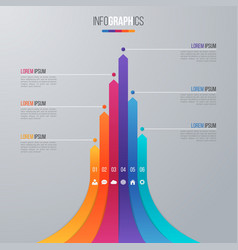 bar chart infographic template with 6 options vector image