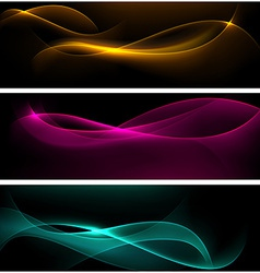 Dark glow banners with color waves vector image