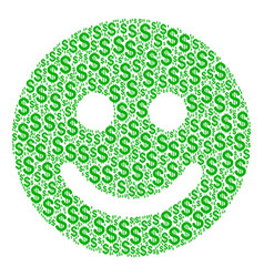 Glad smile composition of dollar vector