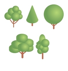 Isometric trees set vector image vector image