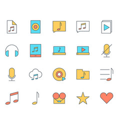 music audio thin line icons set pictograms vector image vector image