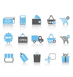 shopping icons set blue series vector image