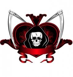 skull and plaits vector image