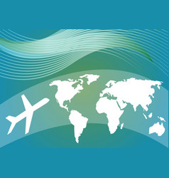 air travelling background with stylized world map vector image