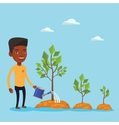 Businessman watering trees vector image