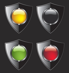 Shield with different color buttons vector image vector image