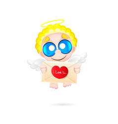 beautiful and pretty cartoon little angel vector image