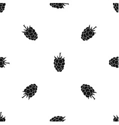 blackberry fruit pattern seamless black vector image vector image
