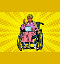 elderly african woman disabled person in a vector image vector image