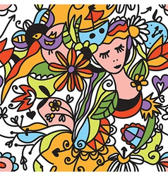 Floral seamless pattern with girl face vector image vector image