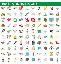 100 statistics icons set cartoon style vector image vector image