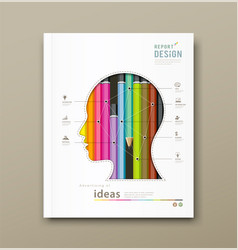 Cover Report head silhouette and colorful pencils vector image vector image