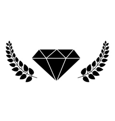 Diamond with leaves frame vector