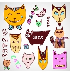 Doodle cats collection hand drawn coloring page vector