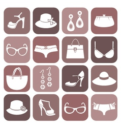 fashion items icon set vector image vector image
