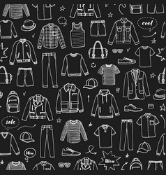 mens clothing and accessories chalk drawing vector image