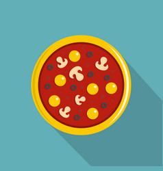 Pizza with yolk olives mushrooms tomato icon vector