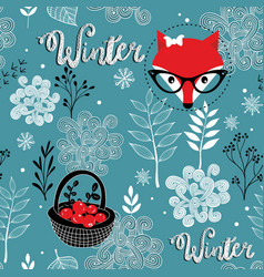 seamless winter pattern of frozen forest and vector image