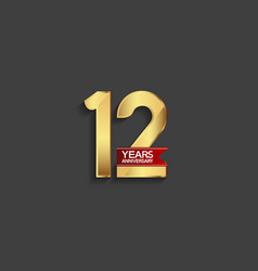 12 years anniversary simple design with golden vector