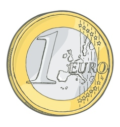 1euro coin sketch vector image