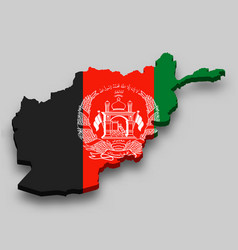 3d isometric map afghanistan with national flag vector